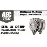 Alternador CASE Maxxum MX Massey Fergson New Holland TC ISKRA 14V 120A 11294640 IA 1296 11204311 47518999 87576053 AEC27032