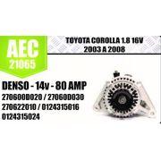 Alternador Corolla 1.8 16v 2003 a 2008 Denso 14V 80 AMP 270600D20 27060D030 270622010 0124315016 0124315024 AEC 21065