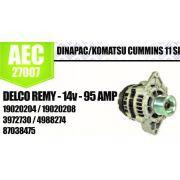 Alternador DINAPAC KOMATSU CUMMINS 11 SI DELCO REMY 14V 95A 19020204 19020208 3972730 4988274 87038475 AEC27007