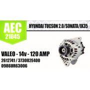 ALTERNADOR HYUNDAI TUCSON 2.0 SONATA IX35 VALEO 14V 120 AMPERES 2612741 373002E400 0986UR63006 AEC21045