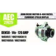 Alternador JHON DEERE Motor 6 466 DIESEL CUMMINS (POLIA DUPLA) DENSO 14V 120A 10459517 1002116030 (1) 1002116050 1002116051 AEC27025