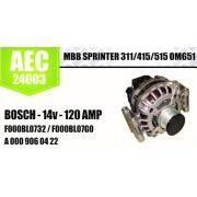 ALTERNADOR MBB SPRINTER 311 415  515 OM  651 BOSCH 14V 120 AMP F000BL732 F000BL07GO A 000 906 0422 AEC24003