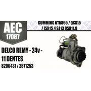 Motor de arranque CUMMINS NTA855 QSX15 ISX15 ISZ13 QSX11 9 DELCO REMY 24V 11 DENTES 8200431 2871253 AEC17087