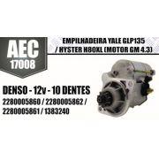 Motor de arranque EMPILHADEIRA Yale GLP1345 Hyster H80XL (Motor GM 4.3) DENSO 12V 10 DENTES 2280005860 2280005862 2280005861 1383240 AEC17008