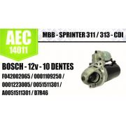 Motor de arranque MBB Sprinter 311 313 CDI BOSCH 12V 10 DENTES F042002065 0001109250 0001223005 0051511301 A0051511301 D7R46 AEC14011