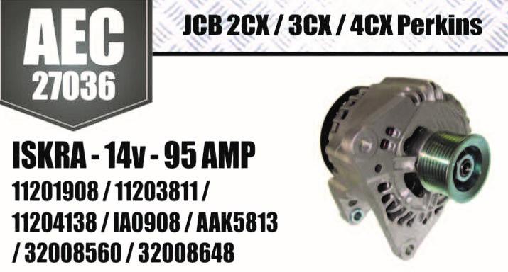 Alternador JCB 2CX 3CX 4CX Perkins ISKRA 14V 95A 11229 11203812 32008649 11201908 11203811 11204138 IA0908 AAK5813 32008560 32008648 AEC27036