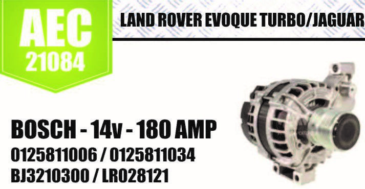 Alternador Land Rover Evoque Turbo Jaguar Bosch 14V 180AMP 0125811006 0125811034 BJ3210300 LR028121 AEC21084