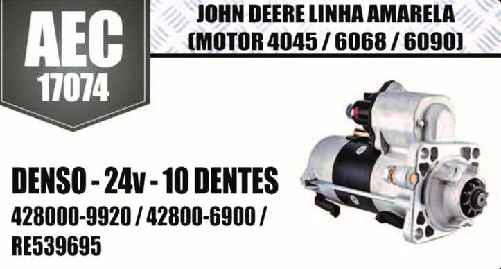 Motor de arranque JHON DEERE Linha Amarela Motor 4045 6068 6090 DENSO 24V 10 DENTES 4280009920 428000 9920 4280006900 428000 6900 RE539695 AEC17074