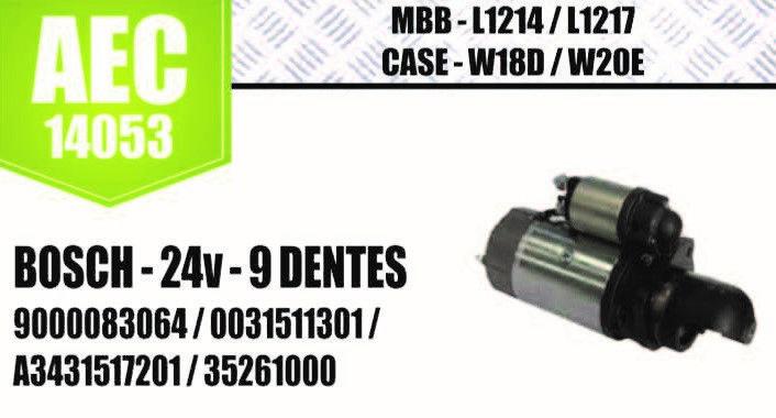 Motor de arranque MBB L124 L1217 CASE W18D W20E BOSCH 24V 9 D 9000083064 0031511301 A3431517201 35261000 0986012940 752087601 12709015 20604  AEC14053