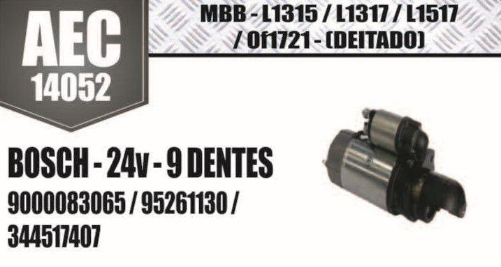 Motor de arranque MBB L1315 L1317 L1517 Of1721 (Deitado) BOSCH 24V 9 DENTES 9000083065 95261130 344517407 AEC14052