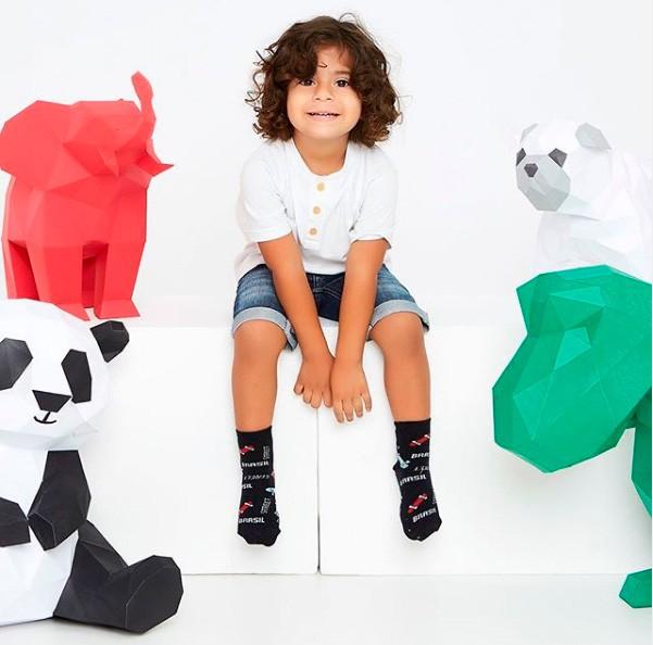 Kit 12 pares meia algodão infantil menino