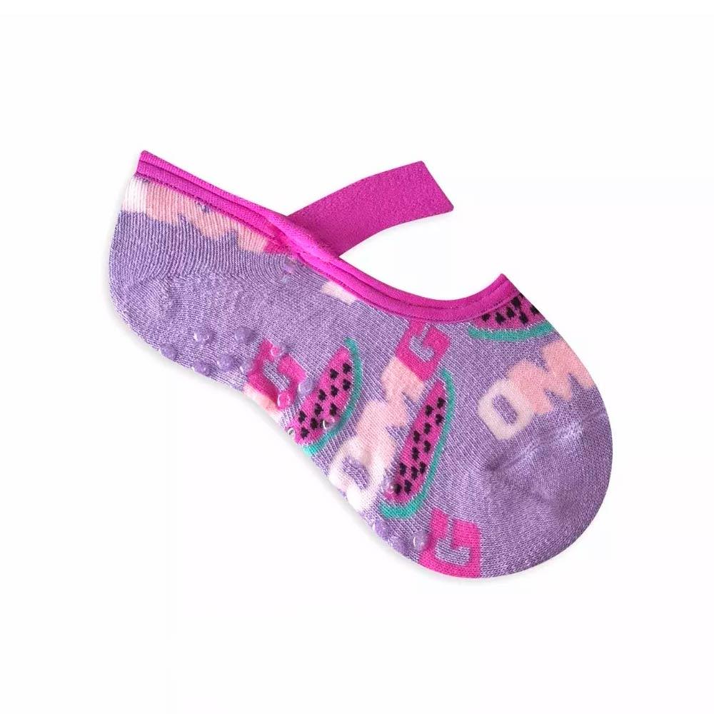 Kit 6 pares meia antiderrapante algodão infantil menina