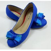 1a49bfa89d1 Sapatilha Azul Royal Fosca Laço Triplo Bico Redondo