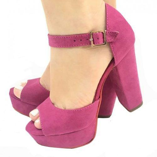 9eb47587c4 - Sandália Meia Pata Salto Grosso Alto Rosa Pink Sola Vermelha - Calçados  Etc