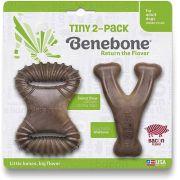 Brinquedo de roer Benebone PP Tiny 2 Pack para cães pequenos Wishbone e Dental Chew Bacon