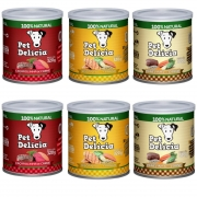 Kit com 6 latas Pet Delícia Mix Sabores- Alimento úmido super premium
