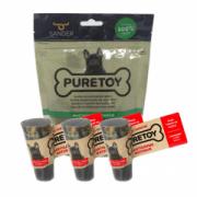 Kit Mordedores Mastigáveis Bovinos: 3 cascos + 3 chifres Puretoy para cães
