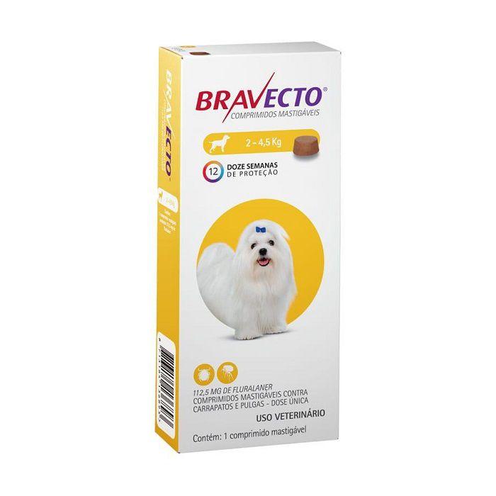 Antipulgas Bravecto Comprimido Mastigável Cães De 2 A 4,5 Kg