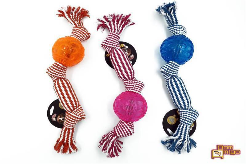 Brinquedo de corda com Bola e apito para cães