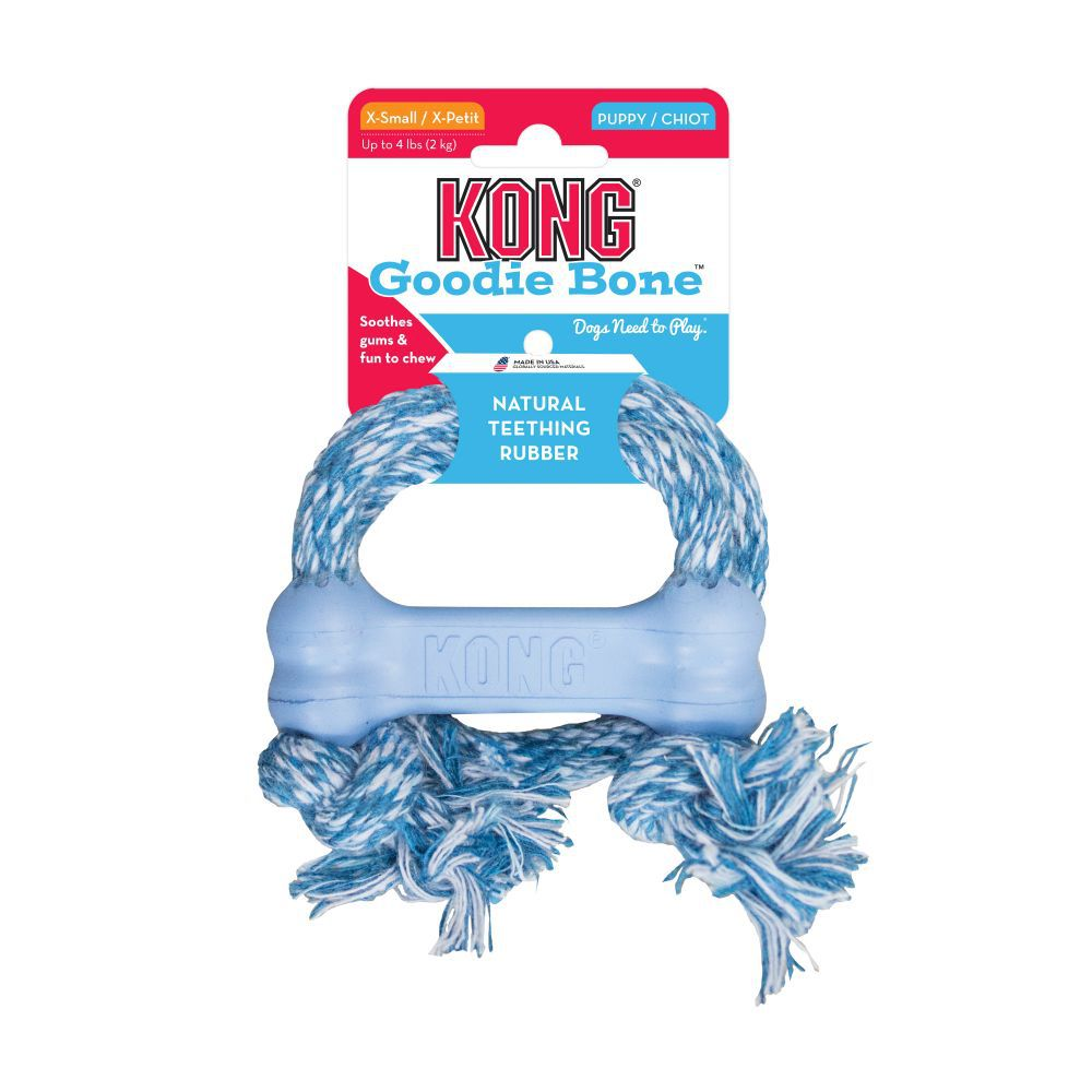 Brinquedo Mordedor com corda para cães  filhotes KONG Puppy Goodie Bone With Rope