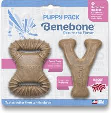 Brinquedo de roer para cães filhotes Benebone Puppy 2- Pack Bacon Wishbone + Dental Chew