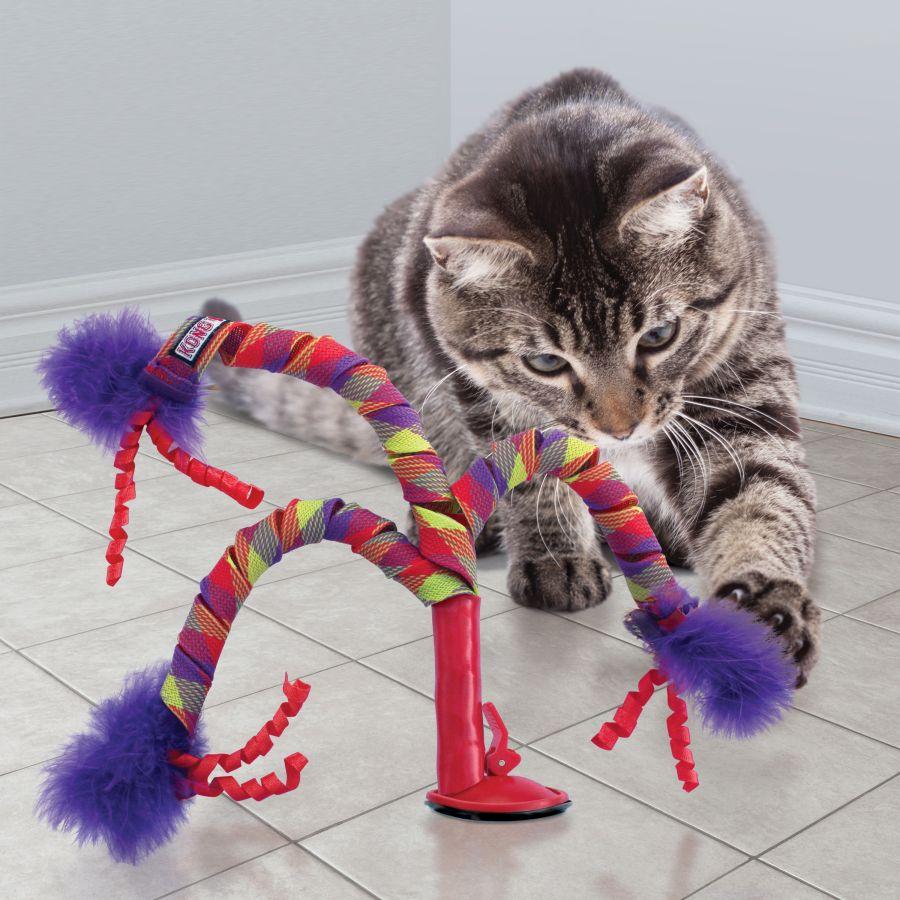 Brinquedo Interativo para gatos com ventosa e guizo Kong Connects Curlz