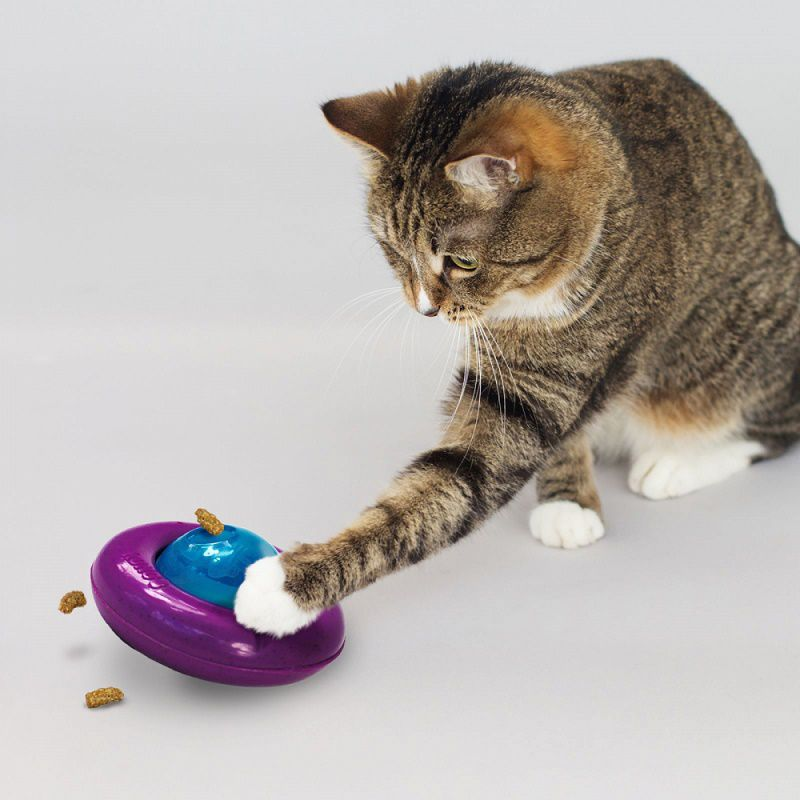 Brinquedo Recheável Kong Gyro para gatos - dispenser de comida com Catnip