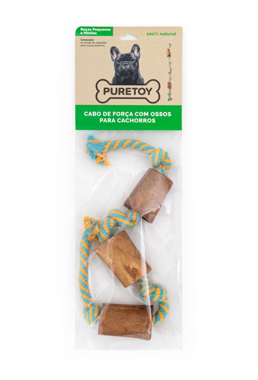 Cabo de Guerra com ossos  defumados Puretoy para cães pequenos