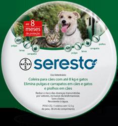 Coleira Seresto P Bayer Antipulgas, carrapatos e mosquitos para cães e gatos até 8 kg