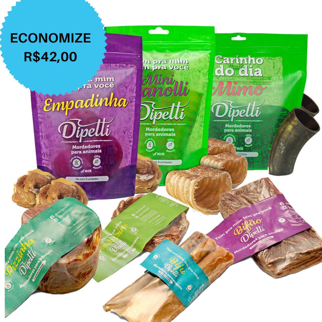 ECONOMIZE R$42 - Kit Dipetti 27 mordedores naturais/ petiscos desidratados cães