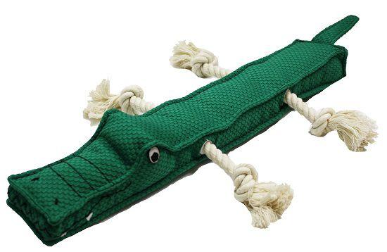 Jacaré de pelúcia com 2 cordas e apitos para cães