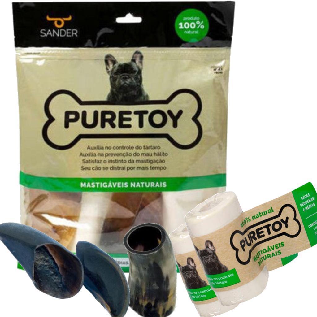 Kit 2 pacotes Mordedor Natural Raças Pequenas e Médias Puretoy para cães