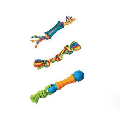 Kit com 3 mordedores com corda para cães de Pequeno Porte