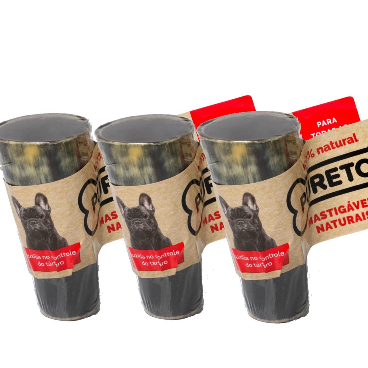 Kit com 7 Chifres Bovinos para Roer Puretoy para cães