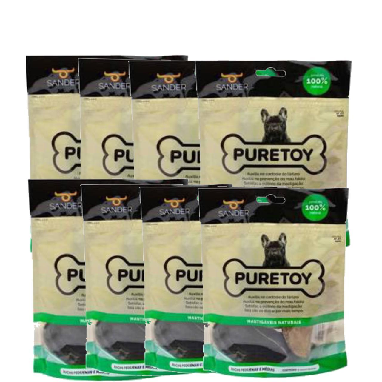 Kit com 8 pacotes (24 unidades) de cascos bovinos Puretoy para cães para roer