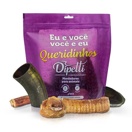 Kit Queridinhos G com 5 Mordedores Naturais Variados Dipetti para cães