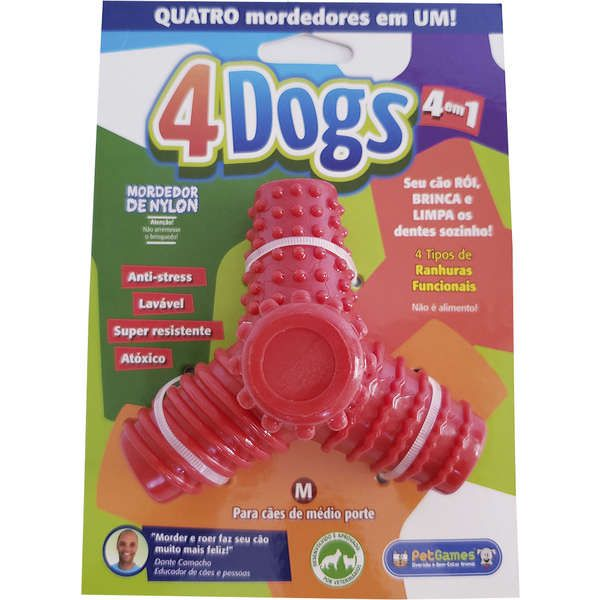 Mordedor nylon 4 pontas 4Dogs Pet Games para cães