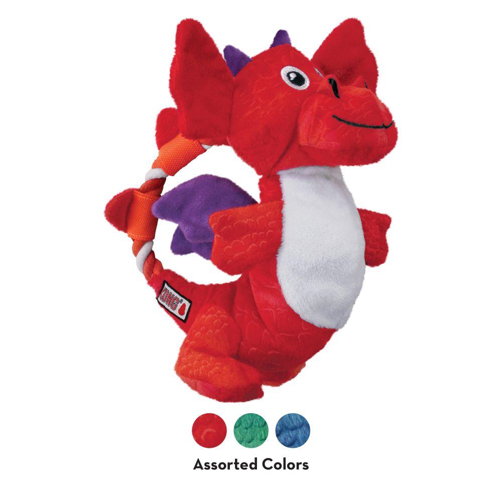 Pelúcia para cães Dragão com corda e apito KONG Dragon Knots