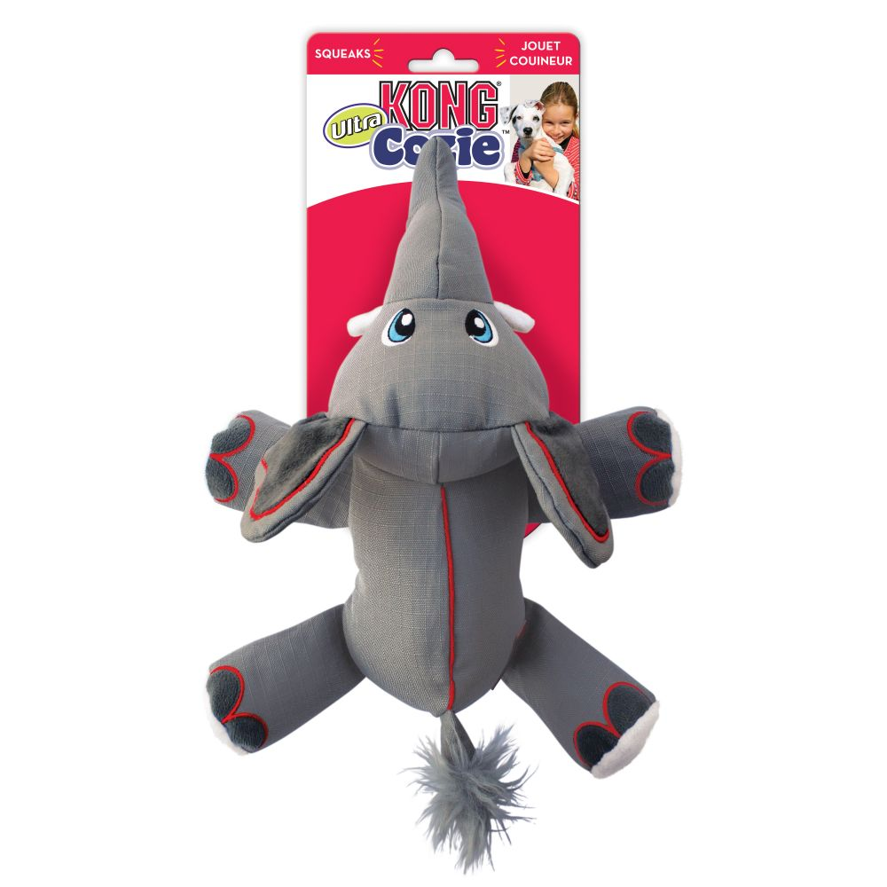 Pelúcia Kong Cozie Ultra Ella Eleph  - Elefante tecido reforçado com apito para cães
