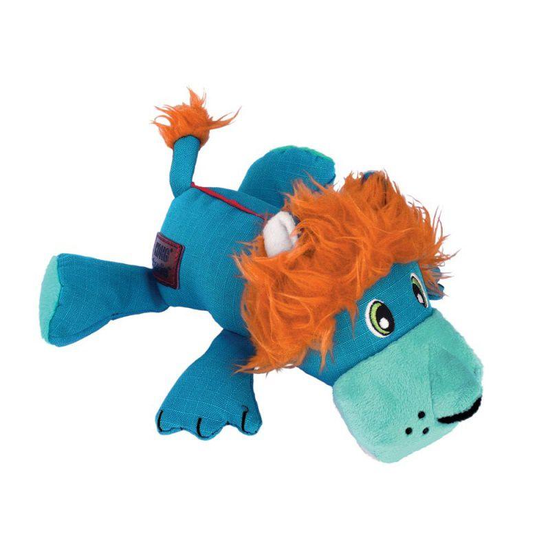 Pelúcia Kong Cozie Ultra Lucky Lion  - Leão tecido reforçado com apito para cães
