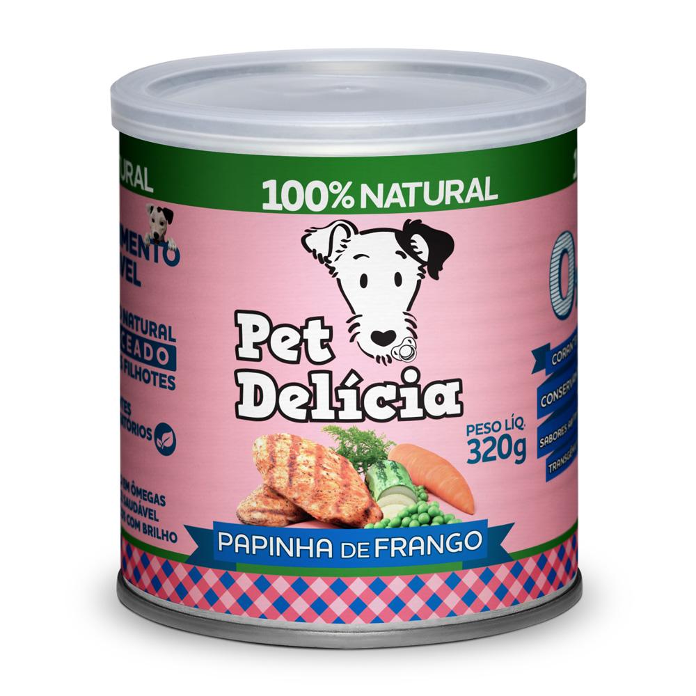 Pet Delícia Papinha de frango para cães Filhotes 320g - Alimento úmido 100% natural