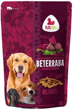 Petisco Biscoito Papapets 100% natural sabor Beterraba com aveia para cães 180g