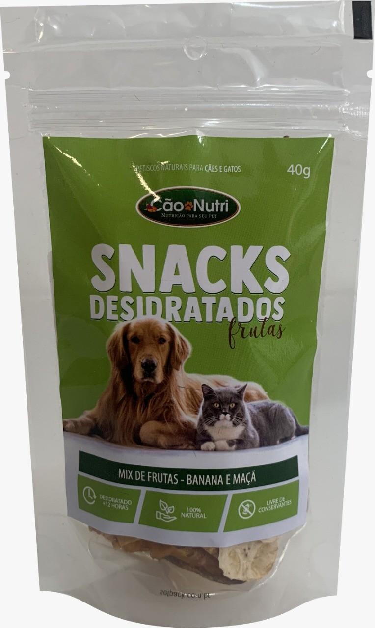 Petisco Mix de Frutas Banana e Maçã Natural Saudável para cães e gatos Cão Nutri 40g