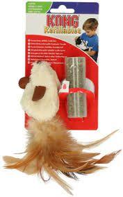 Brinquedo para gatos Pelúcia Rato com penas com Refil Catnip Kong