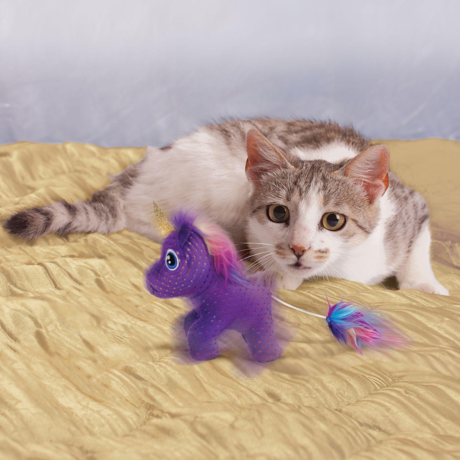 Brinquedo para gatos Pelúcia com catnip Unicórnio encantado