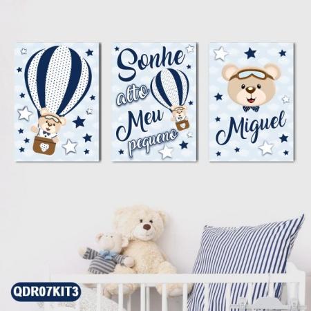 3 Quadros Decorativos Bebê Infantil Ursinho Balão Sonhe Alto Personalizado