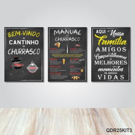 3 Quadros Placas Decorativas Cantinho Churrasco Familia