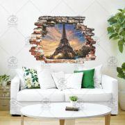 Adesivo de Parede Decorativo Buraco Na Parede Torre Eiffel Paris