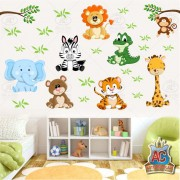 Adesivo De Parede Infantil Animais Safári Leão Urso Girafa