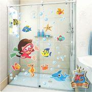 Adesivo Infantil para Box de Banheiro Fundo do Mar Menino 100x70cm